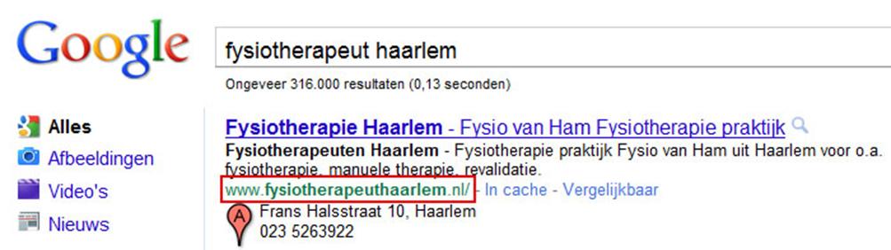 Gevonden worden met fysiotherapeut Haarlem voorbeeld in Google