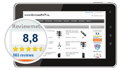 De reviewmeter toont uw actuele klantbeoordelingen en helpt reviews opbouwen